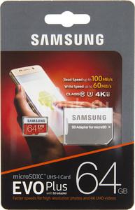 Карта памяти Samsung MicroSDXC UHS-I EVO Plus 64Gb 10class 4K HD