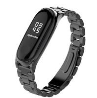 Ремешок на фитнес браслет Xiaomi Mi Band 3 металлический (крупное плетение)